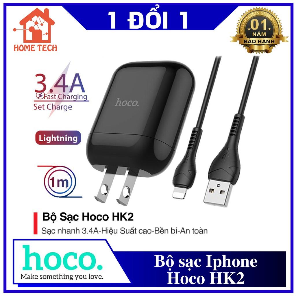 (Siêu Rẻ) Bộ Sạc Nhanh Iphone Hoco HK2 3.4A (Đen/Trắng) - Sạc Chân Dẹt