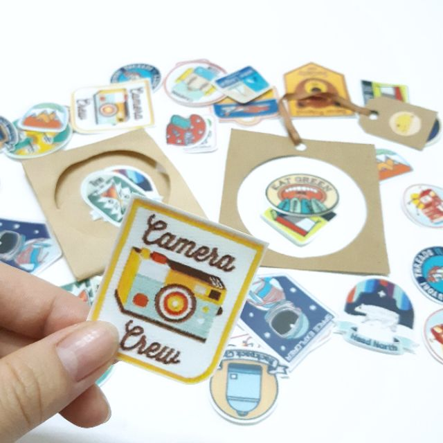 Sticker nhám huy hiệu dán trang trí planer, scrapbook, điện thoại, laptop,....size nhỏ 3-5cm