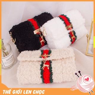 [Có video hướng dẫn] Túi len tự đan,túi handmade , nguyên liệu làm túi