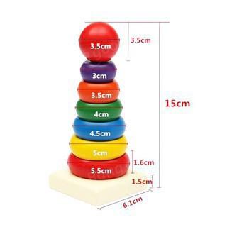 [TẾT SALE HẾT] Đồ chơi Tháp xếp cầu vồng gỗ size nhỏ cho bé