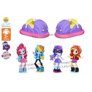 BỘ Búp bê Pony lái xe kèm đế: RainbowDash, PinkiePie, Twilight Sparkle, Sunset Shimmer