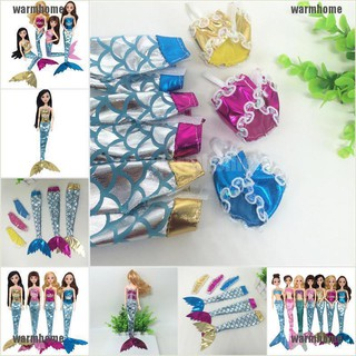 warmhome 3Pcs Glittering Mermaid Doll Clothes Accessories Girls Gift Fit 30cm Doll thro