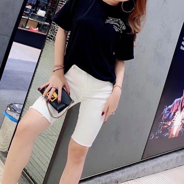 Quần Jeans Ngố Lửng Nữ 2 Màu Đen Và Trắng - Quần Ngố Nữ