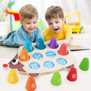 Đồ chơi gỗ Hedgehog – Nhận dạng hình ảnh chữ số (Dụng cụ học Montesori)