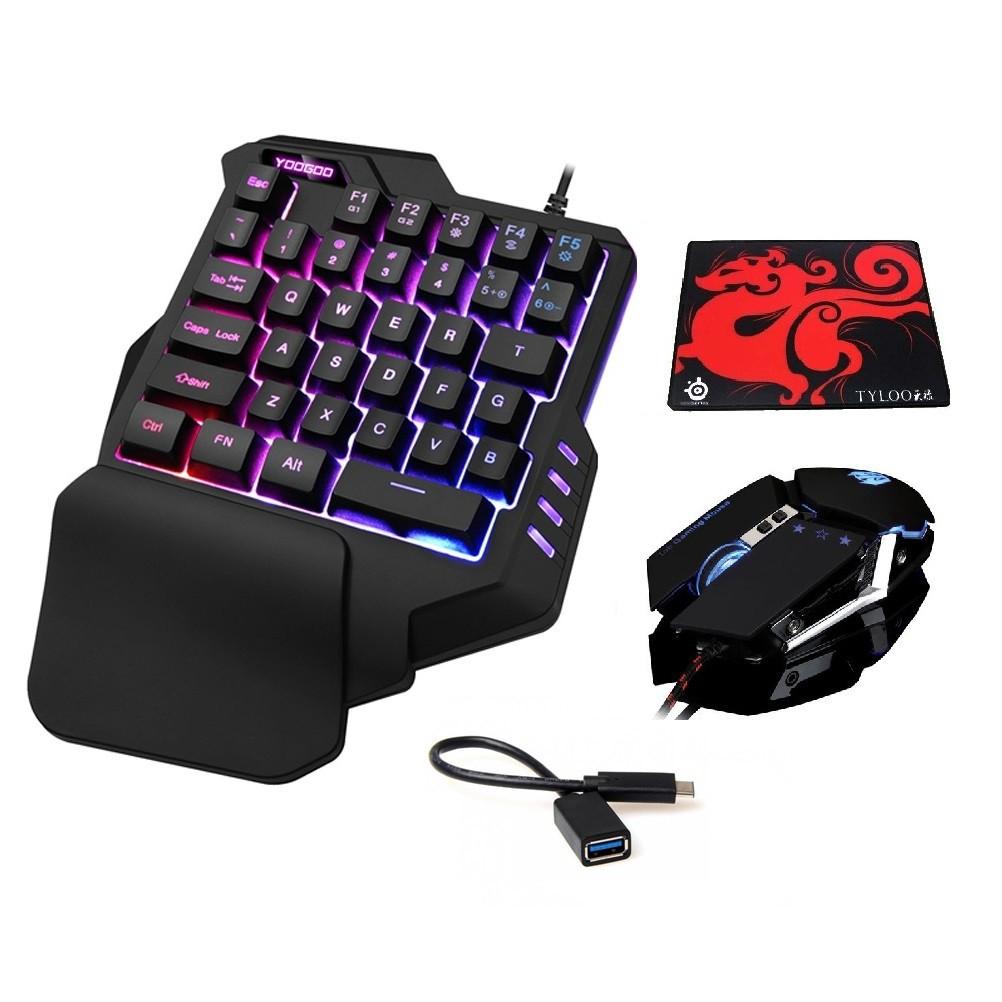 [TẶNG LÓT CHUỘT] Combo bàn phím một tay G92 và chuột T06 LED NHIỀU MÀU TẶNG KÈM CÁP OTG - HÀNG NHẬP KHẨU