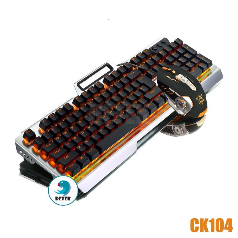 Bàn phím cơ CK104 có đèn LED tặng kèm chuột game thủ và lót chuột