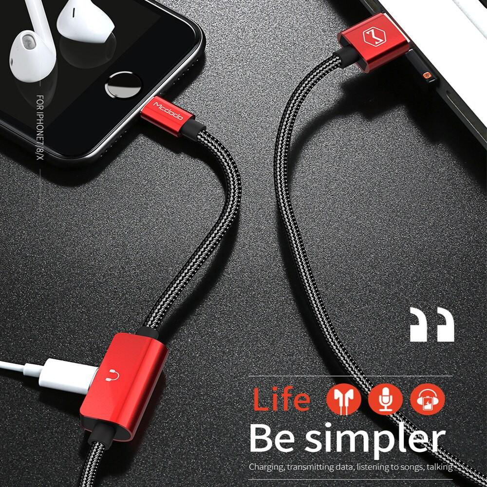 Cáp sạc 2A kiêm điều hợp tai nghe 2 trong 1 chất lượng cao cho iPhone 8 7 Plus