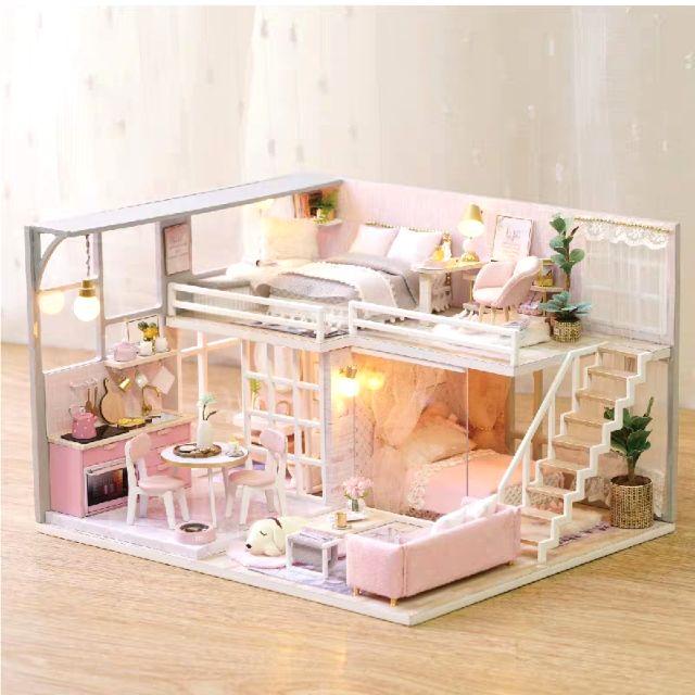 Mô hình nhà gỗ búp bê Dollhouse DIY – Kèm Mica – L025 Girlish Dream