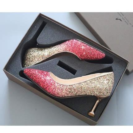 Giày cưới nữ -   giày cưới cô dâu - giày pha lê -  giày cao gót màu đỏ - giày cao gót nữ- giày nữ óng ánh-giày công chúa