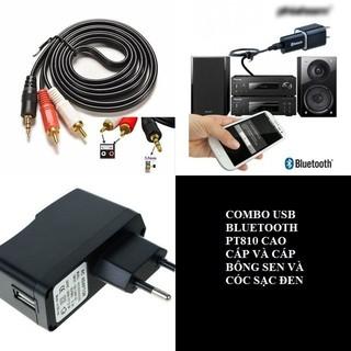 Combo USB Bluetooth PT810 Cấp Bông Sen Cốc Đen