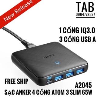 Sạc Anker 4 Cổng PowerPort 3 Slim 65W Gan- IQ3.0 (A2045)