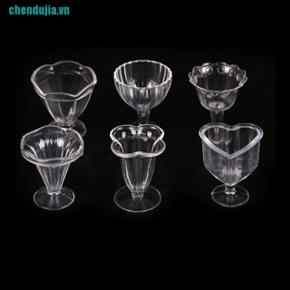 【chendujia】6Pcs Doll House Cups Miniatures Kitchen Tableware Ice cream sundae