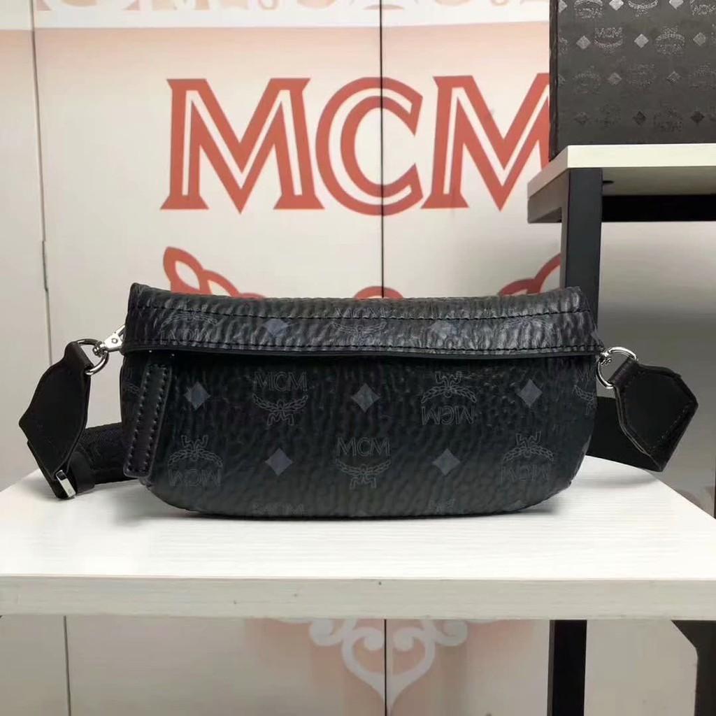 พร้อมส่ง  MCM19 new classic print logo pockets neutral diagonal chest bag
