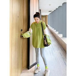 Bộ Áo Sweater Kẻ Sọc + Quần Dài Thời Trang Mùa Thu Cho Mẹ Bầu