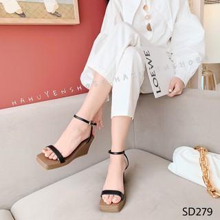 Sandal nữ HHS xuồng đế nâu quai da mảnh đế xuồng 7 phân Hà Huyền Shoes - SD279