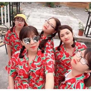 [Rẻ Vô Địch] Bộ Pijama Hoa Quả Mặc Nhóm Lớp Đi Biển Rất Nổi Bật