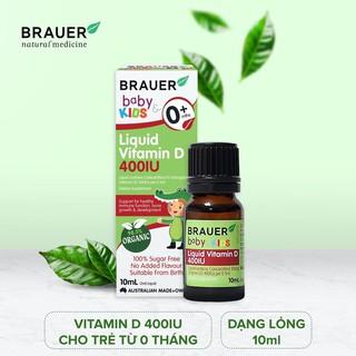 Vitamin D 400 IU Brauer dạng lỏng (10ml), hỗ trợ phát triển xương và hệ miễn dịch khỏe mạnh, cho trẻ sơ sinh