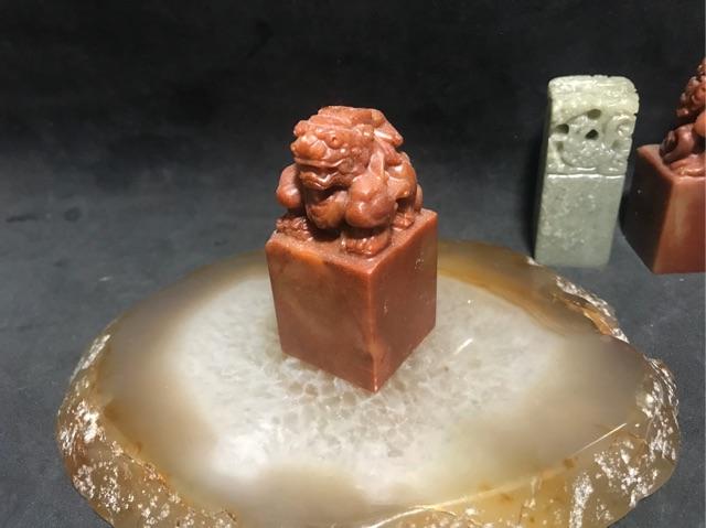 [Khắc Tên Theo Yêu Cầu]Ấn triện Đình Đầu (chất liệu đá Thọ Sơn và chạm Tỳ Hưu)