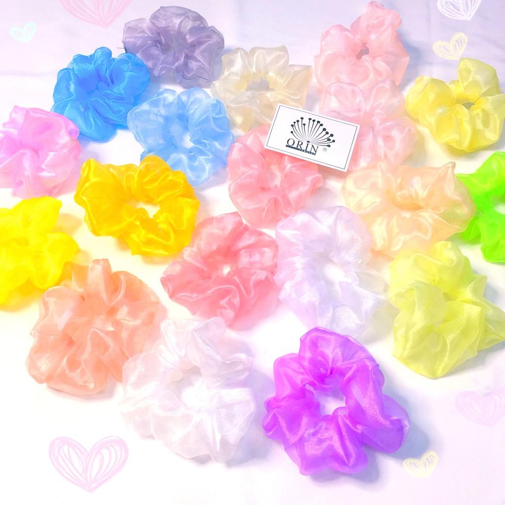 Dây buộc tóc scrunchies bong bóng loại đẹp nhiều màu Orin K1210