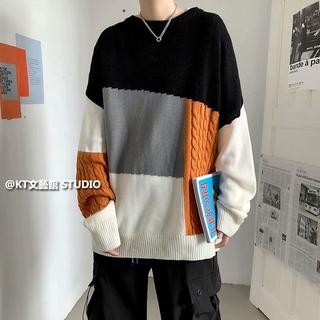 Áo Sweater Kiểu Chắp Vá Cá Tính Trẻ Trung Thời Trang Cho Cặp Đôi