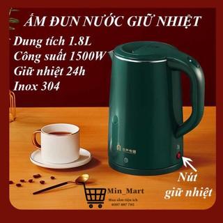 Ấm Siêu Tốc Giữ Nhiệt, Bình Đun Nước Siêu Tốc Inox Đa Năng, Dung Tích 1.8 Lít, Công Suất 1500W, Bảo Hành 6 Tháng