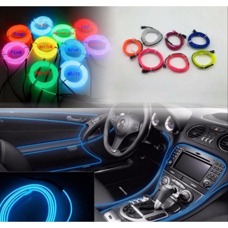 Đèn led xe hơi ô tô trang trí nội thất có jack mồi thuốc dài 5m (xanh lá / đỏ) - The Royal