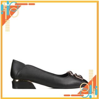 Giày cao gót nữ 3p - giày nữ cao cấp HT.NEO thiết kế hot 2021 cực sang, đế vuống mới, đính hình chữ trang trí CS156 thumbnail