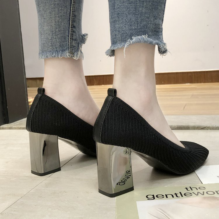 Retro shallow mouth women's shoes knit square head slim female shoes high heels