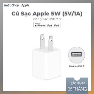 Sạc iPhone7, 8, X, Xs, XsMAX Chính Hãng Apple 5W Chân dẹp chuẩn mỹ LL/A