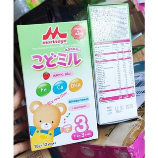 Sữa Morinaga Số 3 Date T1/2022 cho bé trên 3 tuổi hương dâu 12 gói*18g(Không tem)