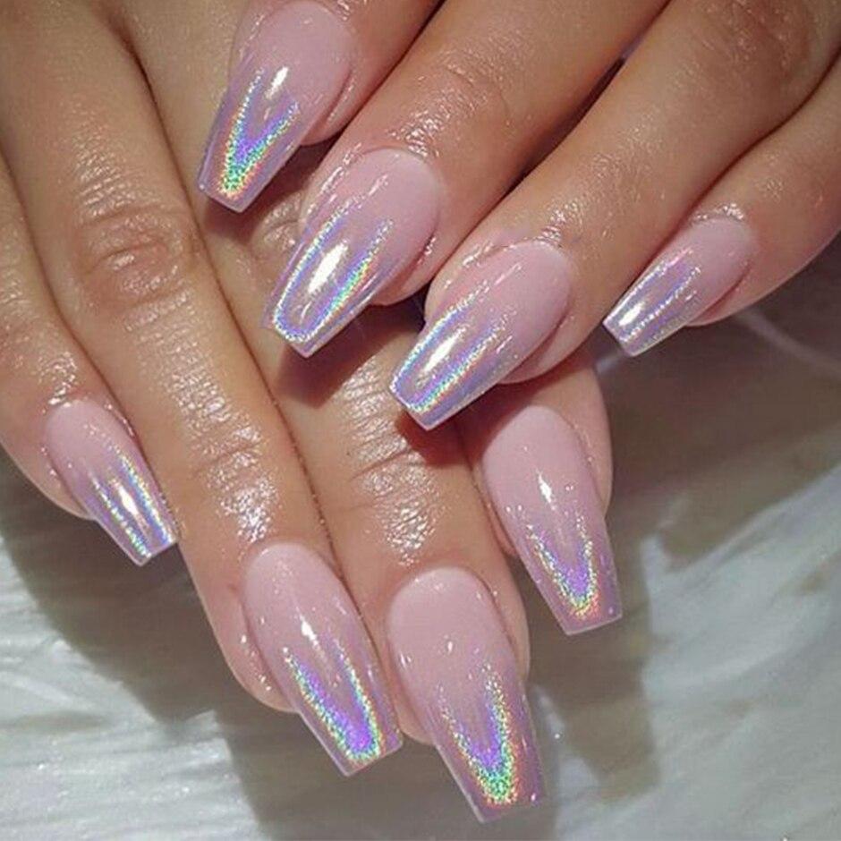 Bột nhúng trang điểm móng tay màu nhũ lấp lánh ánh crôm bạc lập thể nhiều màu tùy chọn