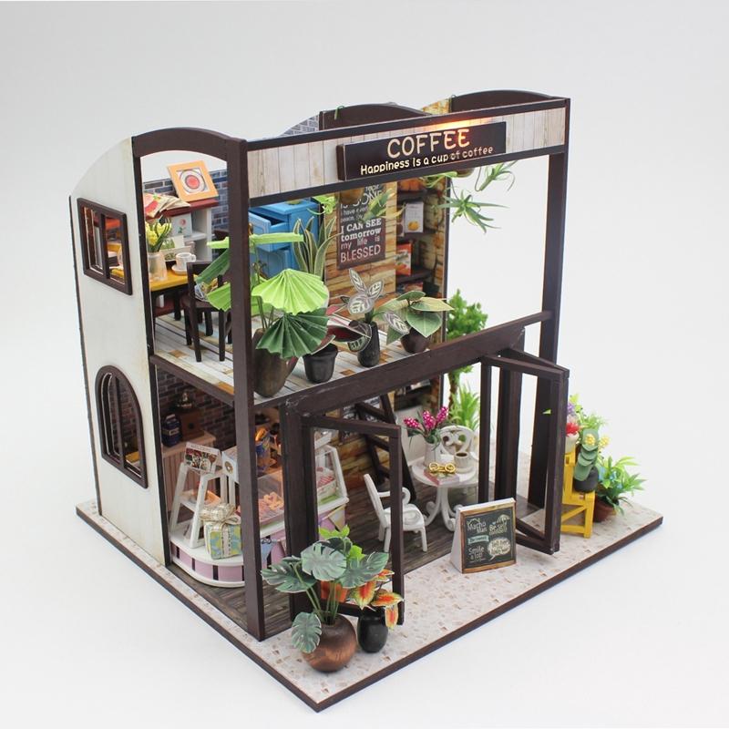 đồ chơi lắp bằng gỗ handmade Mô hình trang trí DIY tiệm cà phê mini thu nhỏ M027 có đèn