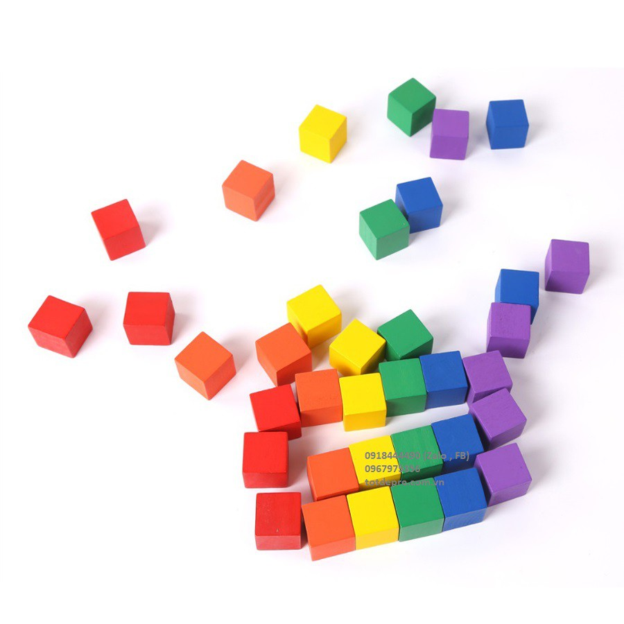 100 Hạt gỗ lập phương màu sắc đồ chơi gỗ giáo dục cho bé