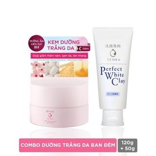 """[Mã COSMALL99 -10% ĐH 250K]Bộ kem dưỡng trắng da ban đêm Senka (Glow Gel Cream 50gr+ Perfect White Clay 120g)_95079 giá chỉ còn <strong class=""""price"""">19.900.000.000đ</strong>"""