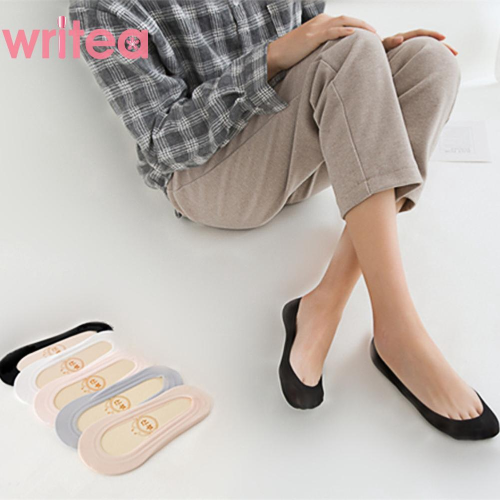 Ready Stock✿Fashion Breathable Invisible Boat Sock Anti-slip Low Cut Solid Silicone Woman Socks