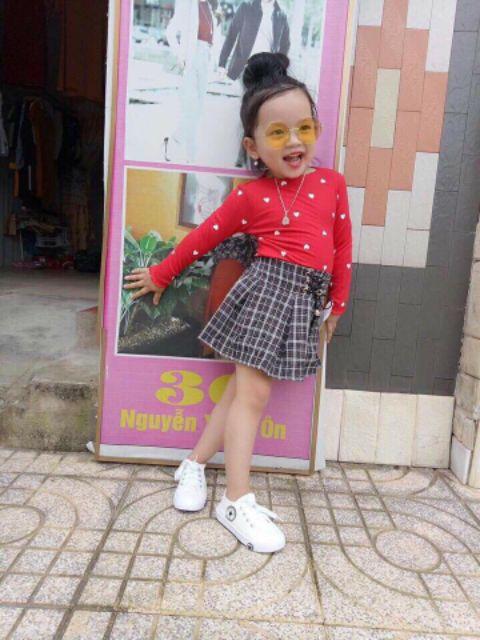Áo Cotton Len tăm hình tim sành điệu QATE051 bé gái 7-19kg