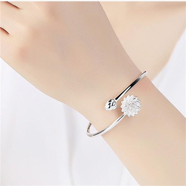 ₪3D fish Bracelet sterling silver Pisces Lotus male and female couple opening 925 lei yue adjustable to send girlfriend
