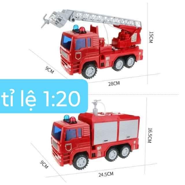 [Mã TOYJAN hoàn 20K xu đơn 50K] Xe cứu hỏa phun nước nhạc đèn tỉ lệ 1:16 như xe thật