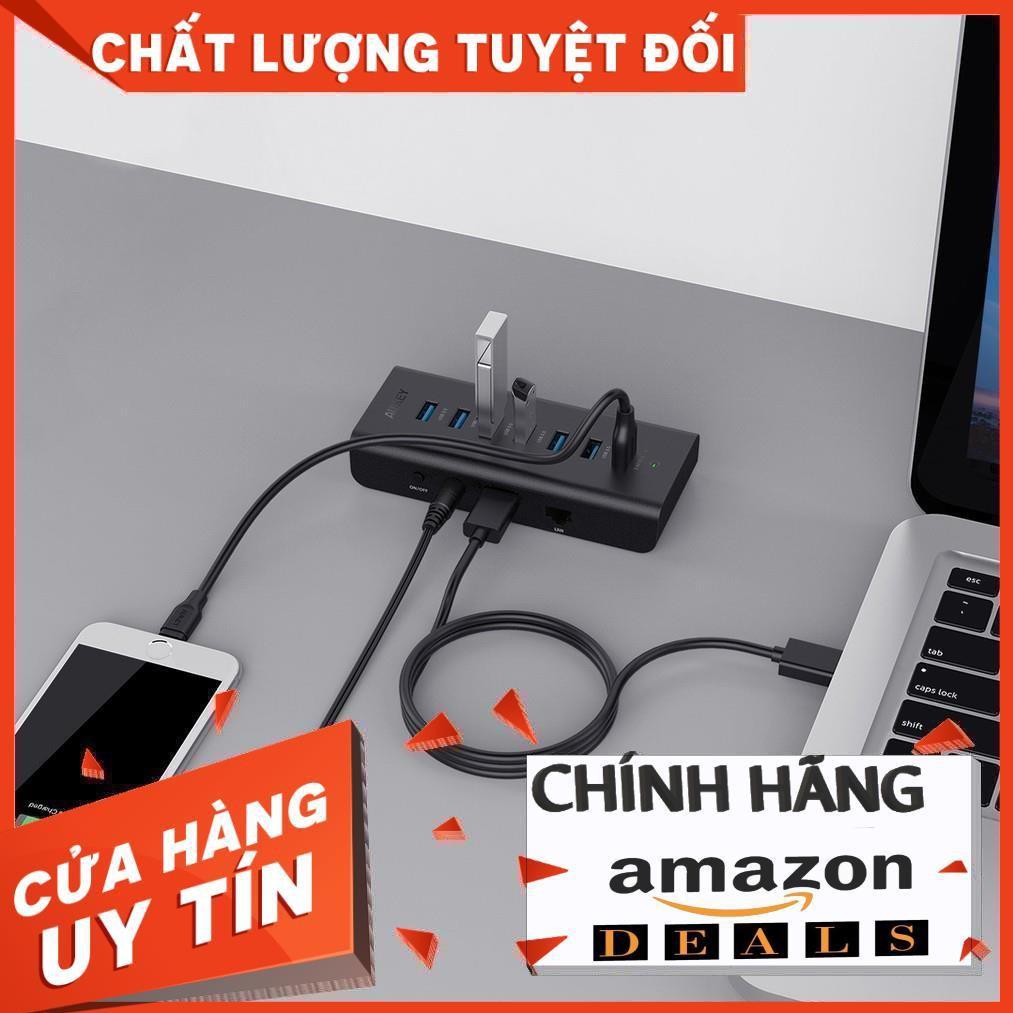 AUKEY USB 3.0 Hub 6 Cổng USB 3.0, 1 Cổng sạc Aipower và 1 Cổng USB Hub