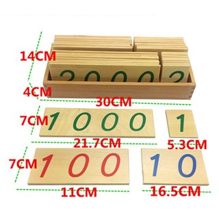 Giáo cụ Montessori Bộ thẻ học số 1 đến 9000 cỡ lớn