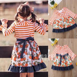Mu♫-Hot Newborn Kids Baby Girls Dress Long Sleeve Pumpkin Striped Dress Outfits Clothes