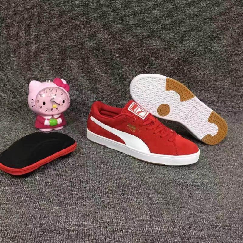 <AA> PUMA ใหม่ SUEDE รองเท้าพักผ่อนคู่สีแดงและสีขาว 36-45