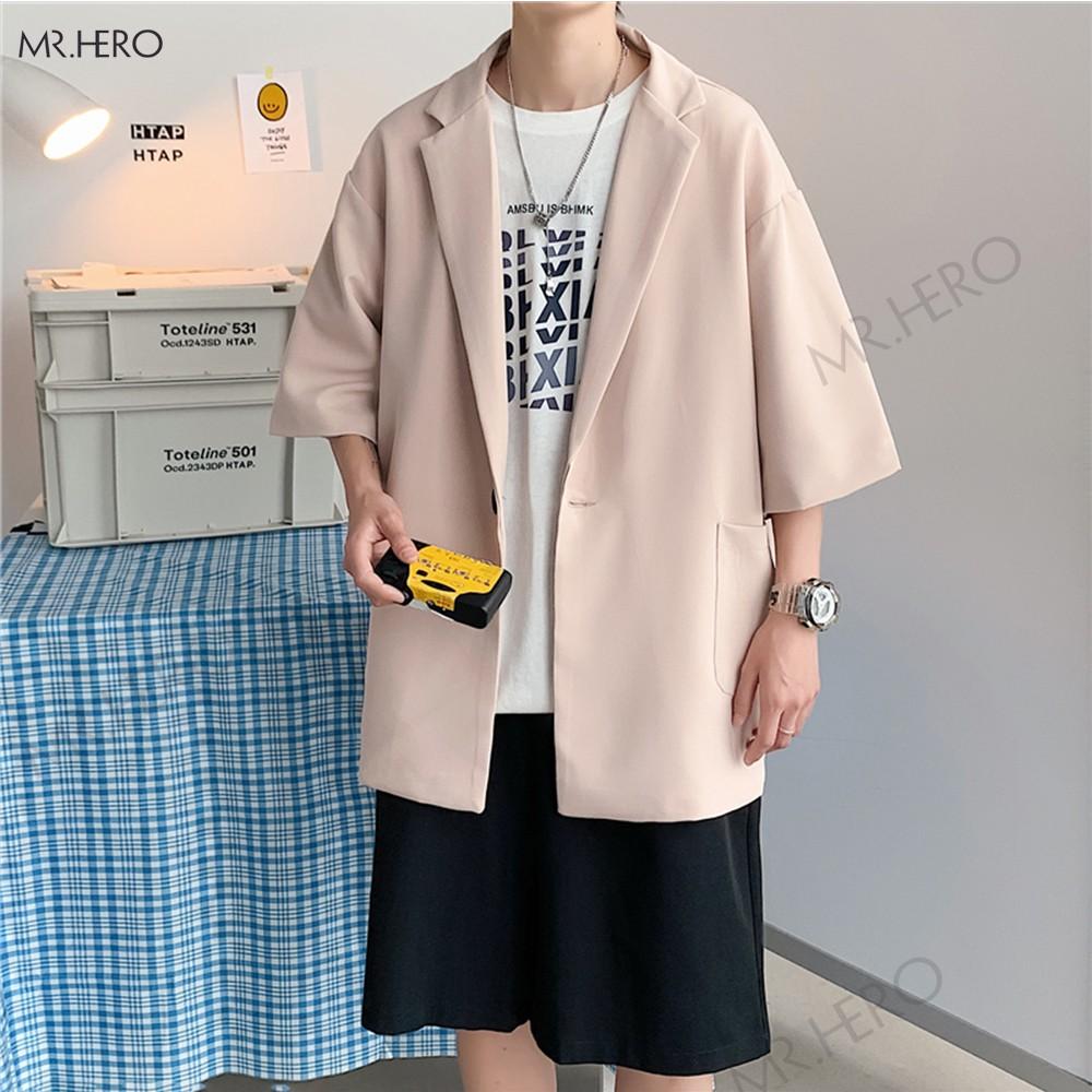 Áo blazer tay lỡ unisex áo vest form rộng  nam hè thu phong cách Hàn Quốc-BZ05