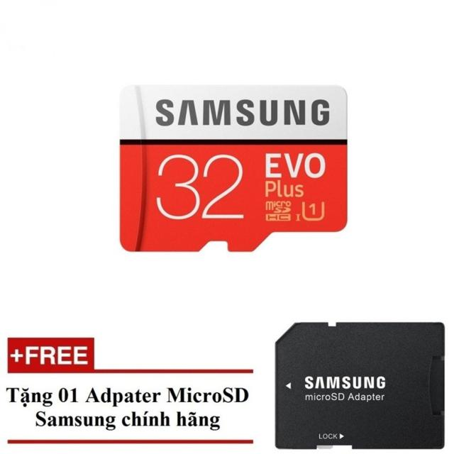 [Freeship đơn từ 50k] Thẻ nhớ MicroSDHC Samsung Evo Plus 32GB UHS-I U1 95MB/s (Đỏ) + Tặng Adapter Sa