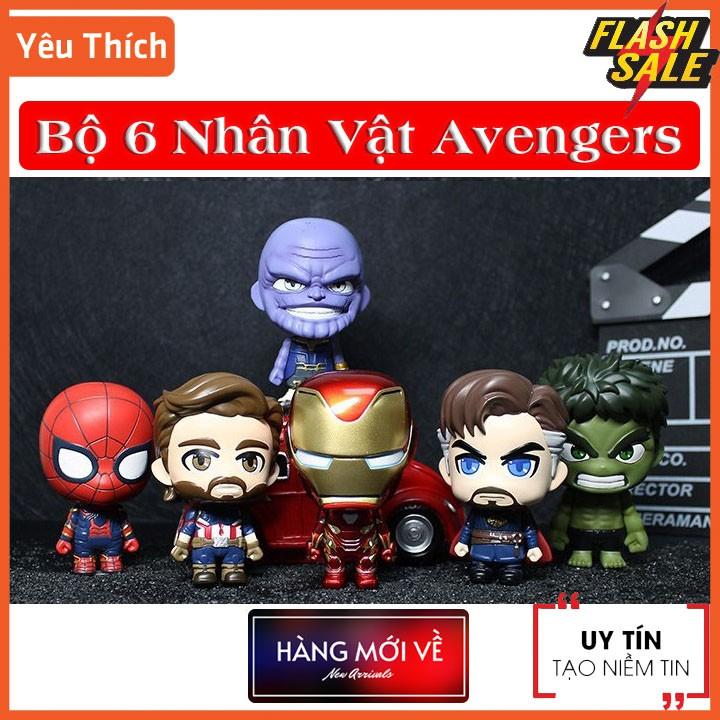 [6 Nhân Vật ] Bộ mô hình đồ chơi 6 nhân vật siêu anh hùng Avengers CosBaby Siêu Đẹp