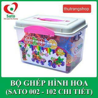 Bộ ghép hình cánh hoa 102 chi tiết kèm hộp đựng đồ chơi an toàn SATO