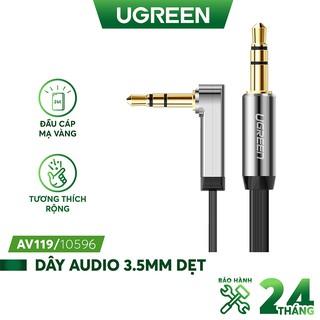 Dây Audio 3.5mm dẹt, mạ vàng 1 đầu vuông 90, TPE UGREEN AV119 .