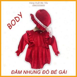 Váy Đầm Nhung Đỏ Body Tết Cho Bé Gái Kèm Mũ Diện Tết , Váy Nhung Đỏ Diện Tết Bé Gái Đủ Size 0123 Tuổi