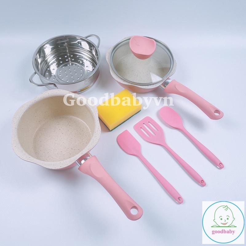 (Mua 1 tặng 5) Bộ Nồi Chảo Chống Dính Nấu Ăn Dặm ,Nhà Bếp Hình Hoa Tráng Men Đá  Cao Cấp GB