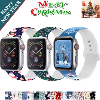 Dây đeo silicone in họa tiết Giáng sinh cho Iwatch 44mm 40mm 42mm 38mm Series 6 5